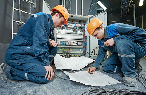 two electrician builder engineer with bl
