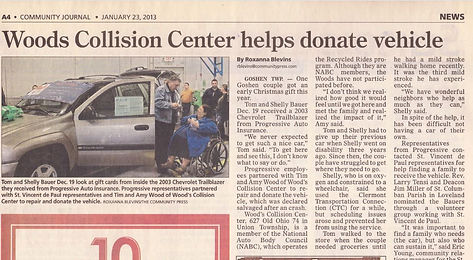 Wood's Collision Cente Donation Article