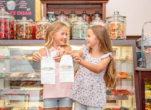 Girls at Loveland Sweet Shoppe, branding