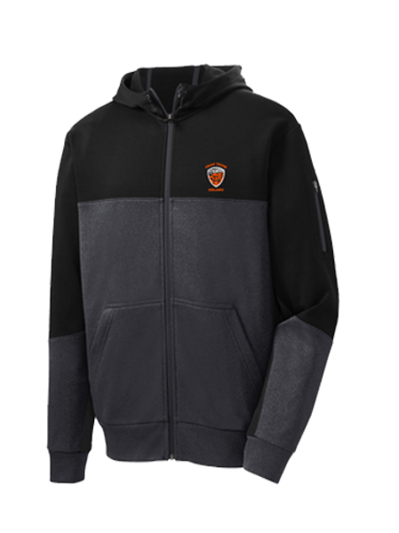 ST245 Sport-Tek® Ladies or Mens Tech Fleece Colorblock Full-Zip Hooded Jacket
