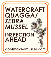 Sign saying Watercraft quagga/zebra mussel inspection ahead