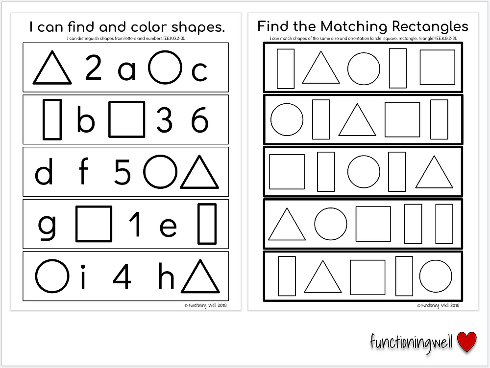 print awareness shapes letters worksheets