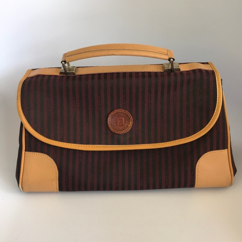 Back to the 70 s 80 s with this old vintage FENDI handbag. Stripes canvas  burgundy black with tan leather. Medium size bag 13