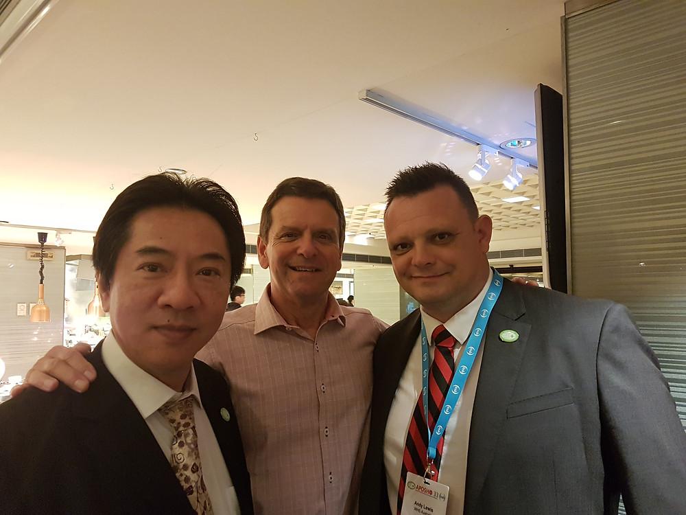 Below: (L-R) Outgoing Secretary General of APOSHO, Mr. Chi-Ming Law, Secretary General of APOSHO, Mr. Bernie Doyle & me