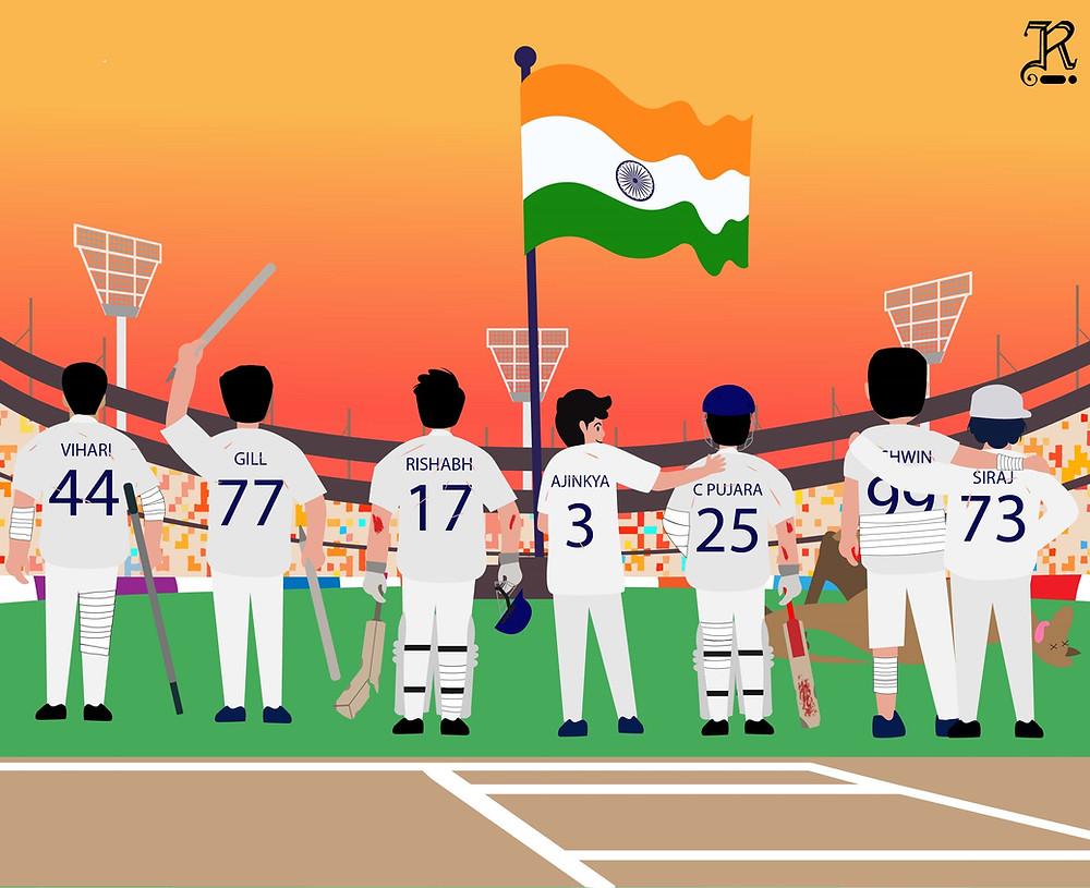 Illustration of Indian Cricket Team after winning the Border-Gavaskar Trophy