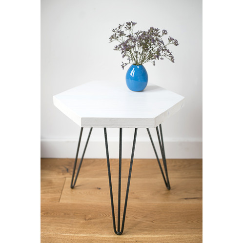 White Wooden Geometric Hexagon coffee table with hairpin legs