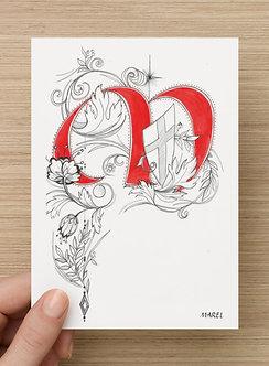 Lot de 10 cartes postales Lettrines