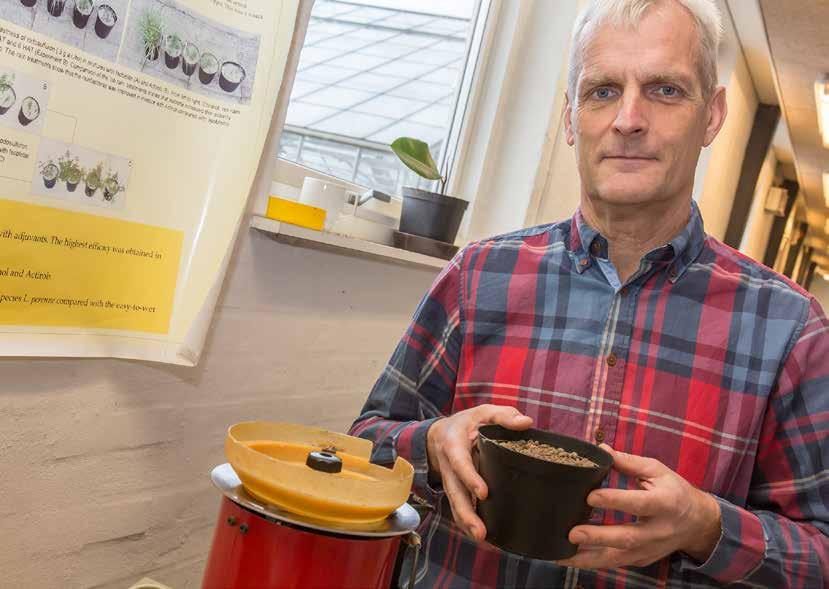 Peter Kryger Jensen med en af de potter, som bliver brugt til at undersøge, hvordan spildfrø fra kulturplanter og andre arter påvirkes af vind og vejr afhængig af, om de forbliver på overfladen eller nedarbejdes i jorden.