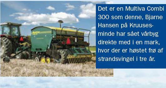 Multiva Combi såmaskinen er velegnet til alle afgrøder og kan både så direkte i ældre frøgræsmarker og efter en plov - og selvfølgelig også efter en opharvning. Det har efterhånden mange danske pløjefri landmænd erfaret.