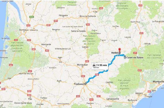 Som vist på kortet ovenfor ligger Sarah Singlas landbrug i Canet-de-Salars, og vi skal bo i den nærliggende by Rodez i det sydlige Frankrig. Den nærmeste større by at flyve til er Toulouse, som ligger cirka to timers kørsel væk.
