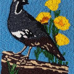 Linda Eben Jones, Quail with Yellow Flowers, 2020, beaded canvas_edited.jpg