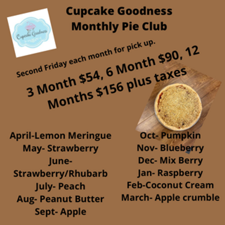Monthly Pie Club 12 months