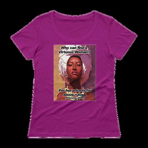 Above Rubies Ladies Sheer Scoopneck T-Shirt