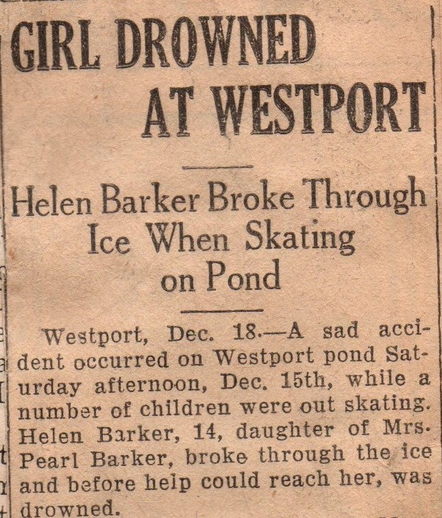 Helen Barker, born January 21, 1914, died December 15, 1928.   Source: The Obituary Book loaned to The Rideau District Museum