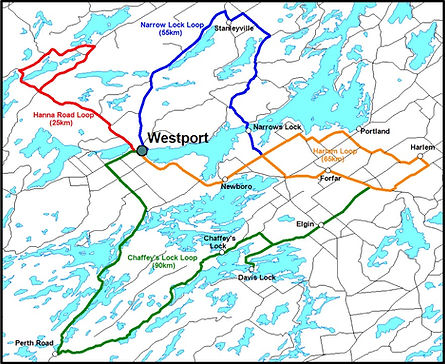 cycling routes near Westport, Ontario