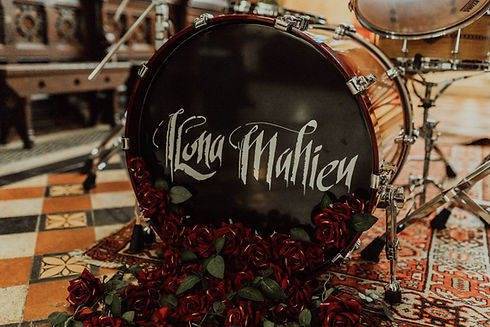 Ilona Mahieu logo drum kick roses red church