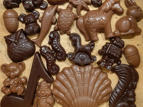 Fun Shapes in Solid Chocolate