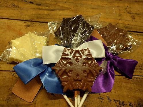 Snowflake Lollipop - Solid Chocolate