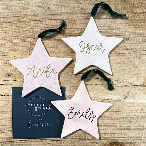Personalised Ceramic Star Calligraphy Christmas Bauble