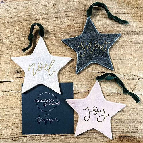 Ceramic Star Calligraphy Christmas Bauble