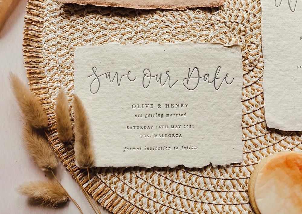 Eco friendly wedding invitations handmade paper