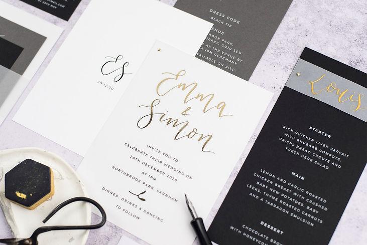 Emma - Lou Paper Wedding Stationery Contemporary Wedding Invitations Gold Foil
