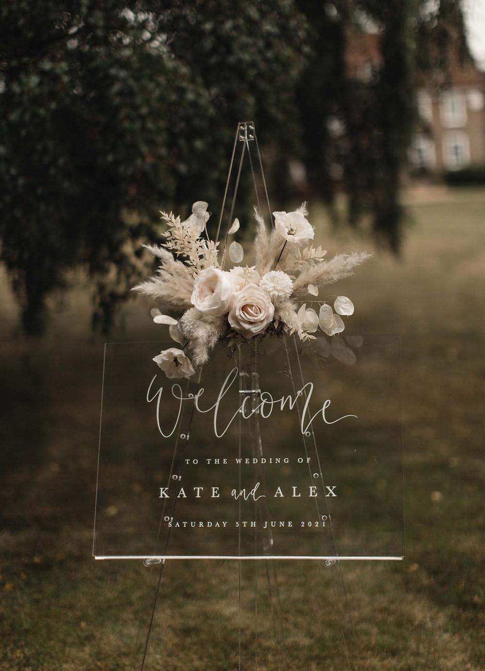 Eco- friendly wedding signage