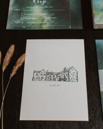 Wedding Venue Illustration Bespoke Invit