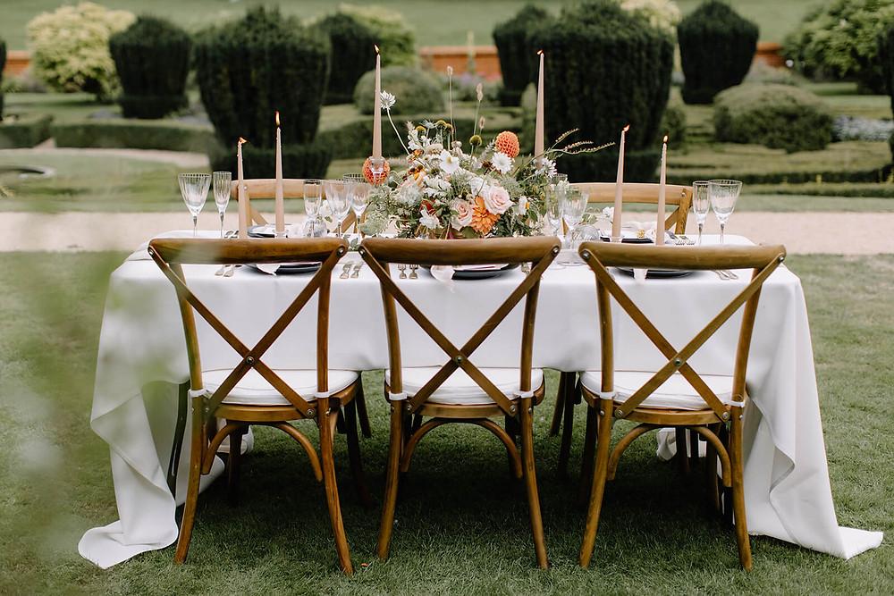 English countryside wedding outside styled wedding table