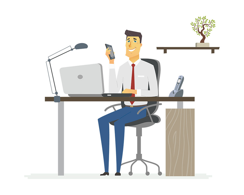 Animated male with smartphone and laptop sitting at desk smiling