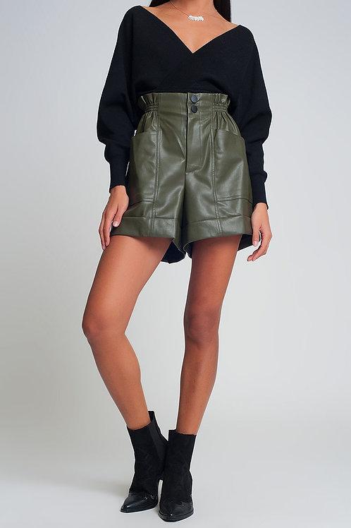 Paper-Bag Waist Faux Leather Shorts