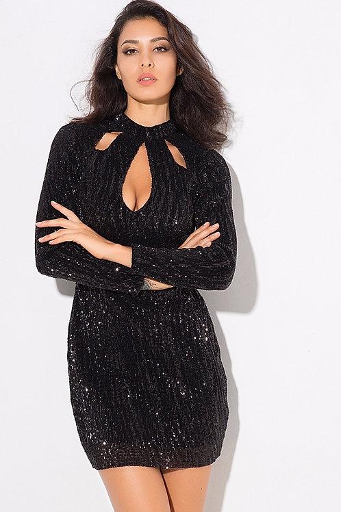 Lana Black Sequin Bodycon Dress