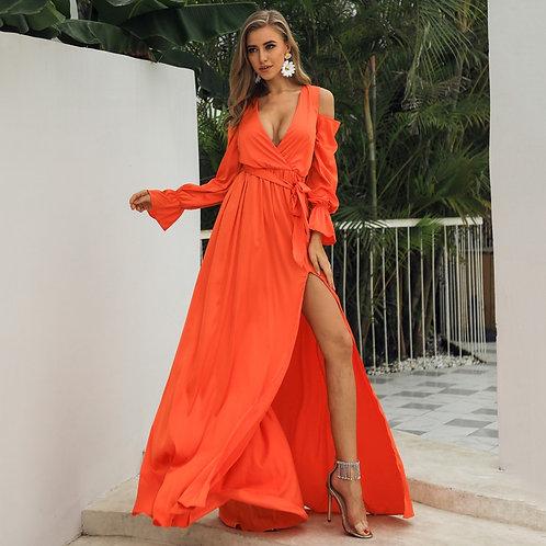 Off The Water - Orange Maxi Dress