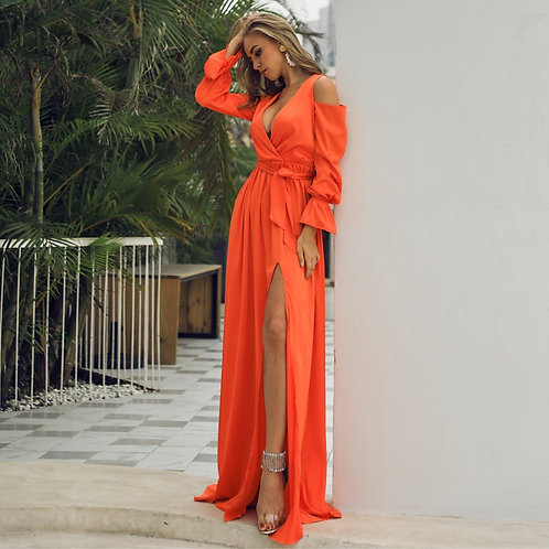 Off The Water Orange Maxi Dress