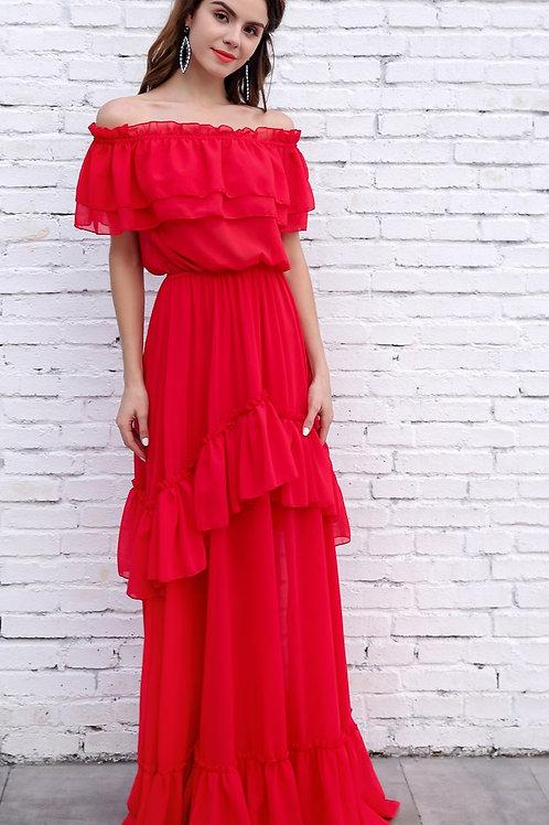 Cruise Ship Red Maxi Dress