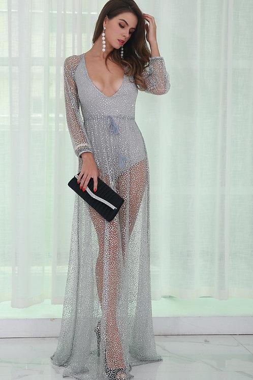 Silver Glitter Backless Dress