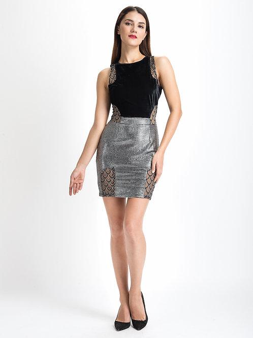 Spaced Out Sleeveless Metallic Velvet Dress