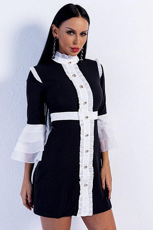 Black Flare Sleeve Dress
