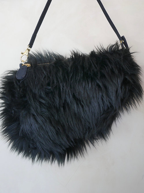 Black Faux Fur Saddle Bag