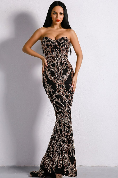 Goldiva Black Embellished Sequin Gown