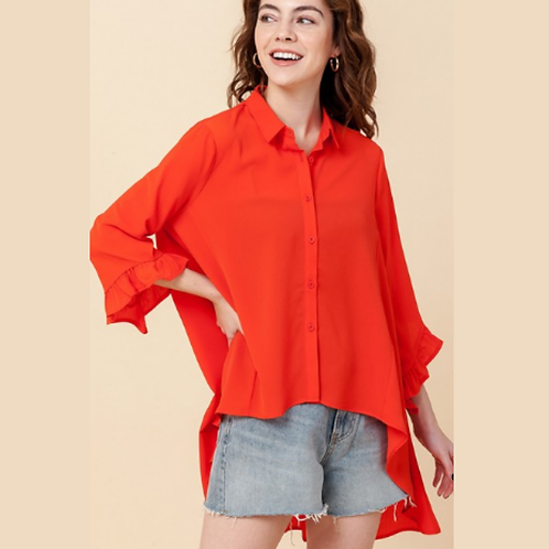Wide Button Down -Orange