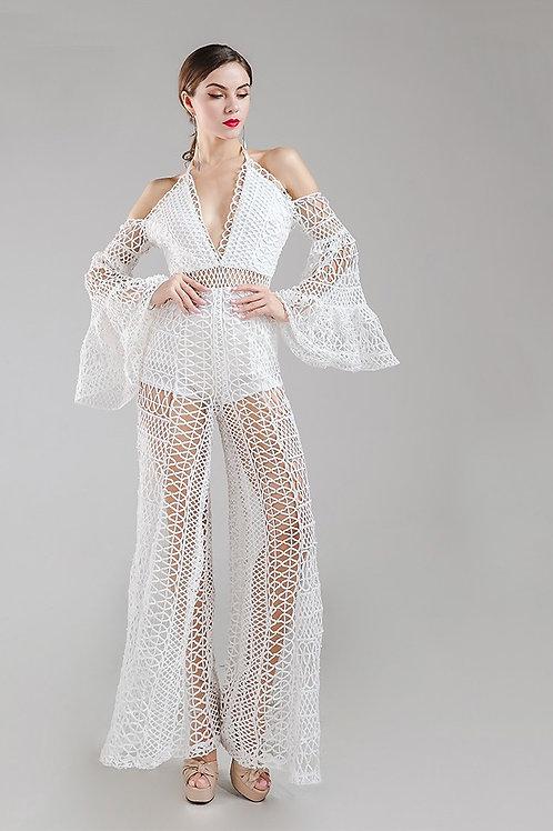 Lola White Crochet Jumpsuit