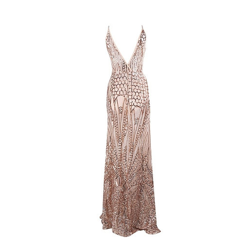 Here To Shine Gold Sequin Evening Gown