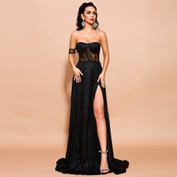 Laila Black High Slit Gown