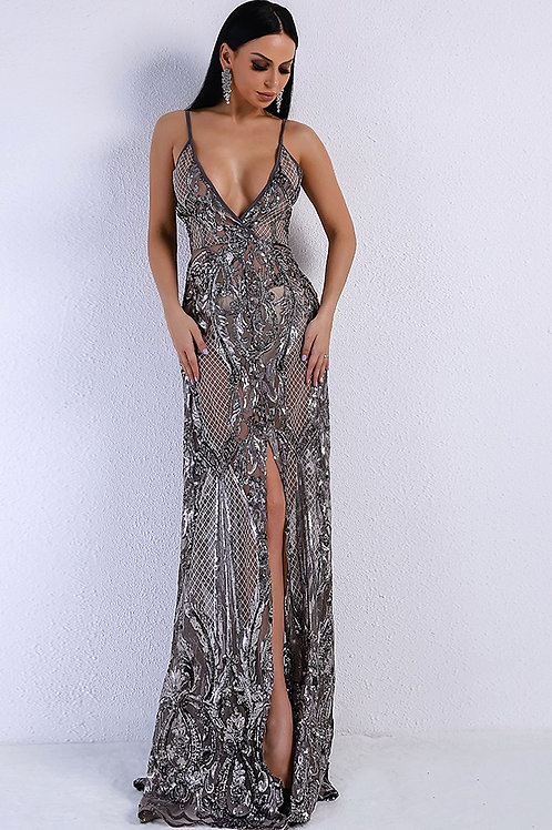 Tiki Silver Sequin Evening Gown