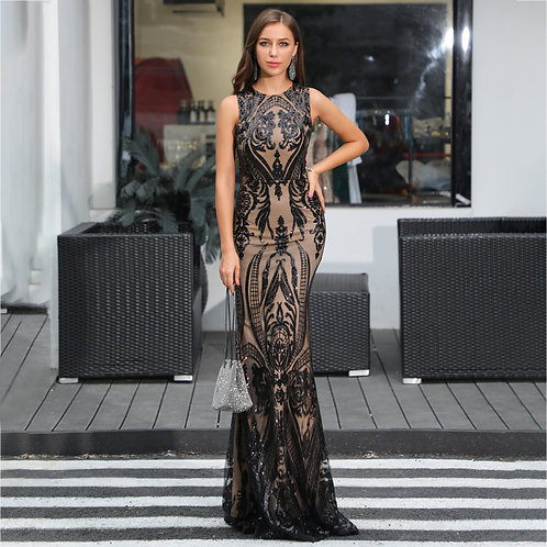 Bow Down Sequin Gown