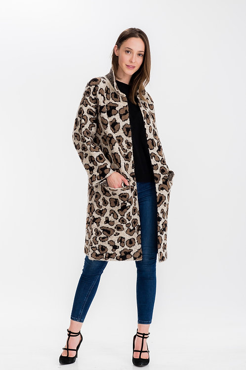 Womens Leopard Print Long Coat