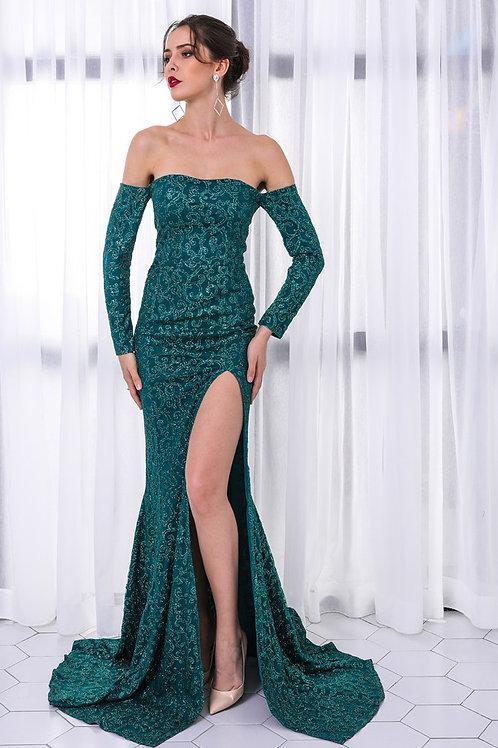 Emerald Queen  Green Sequin Gown