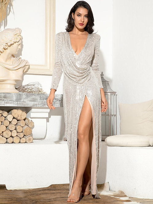 Donna Silver Sequin Plunge Gown