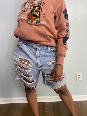 Destroyed Denim Boy Shorts